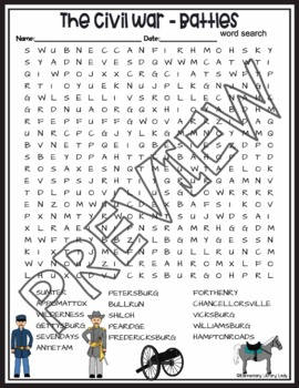 Civil War Battles Crossword Puzzle and Word Search Find Activities