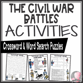 Civil War Activities Battles Crossword Puzzle and Word Search Find