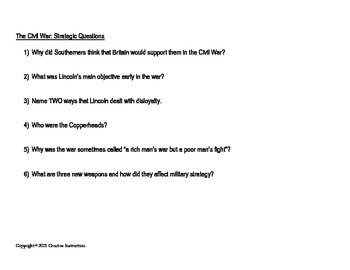 Civil War Battles/Leaders/Strategies Chart and Questions