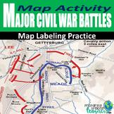 Civil War Battles Map Labeling Activity