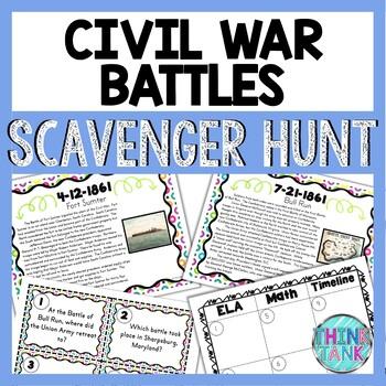 Civil War Battles Scavenger Hunt -Task Cards - Abraham Lincoln