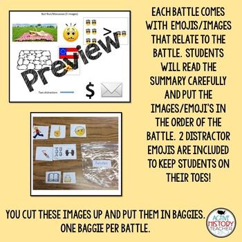 Civil War Battles -  Station Activity - Emoji Summary/Sort Activity (baggies)