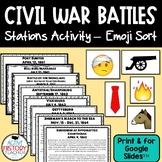 Civil War Battles -  Station Activity - Emoji Summary/Sort