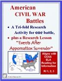 CIVIL WAR BATTLE  Tri-fold Research Report