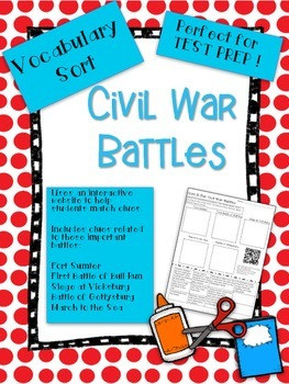 Civil War Battles Vocabulary Word Sort