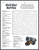 Civil War Battles Word Search Worksheet