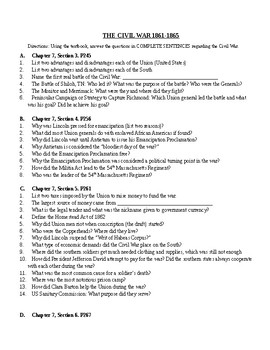 Civil War Battles Worksheet for Pearson United States History text