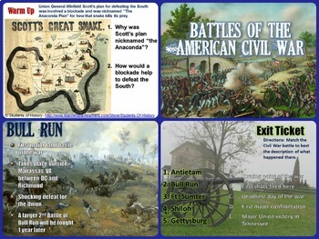 Civil War Battles and Events Complete 1 Day Lesson