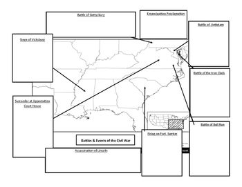 Civil War Battles and Events Map note sheet
