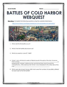 Civil War - Battles of Cold Harbor - Webquest with Key