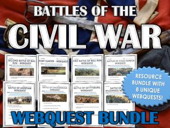 Civil War - Battles of the Civil War - Webquest Bundle / Centers Activity