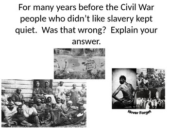 Civil War Bell Ringers or Warm Ups: 38 Questions