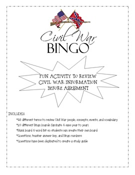 Civil War Review Game - Bingo