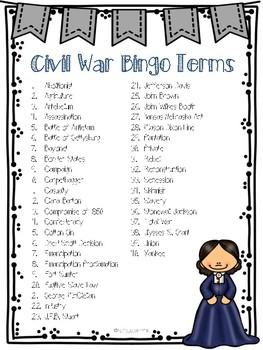Civil War Bingo Game