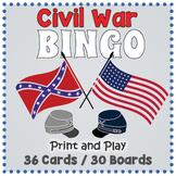 American Civil War BINGO & Memory Matching Card Game Activity