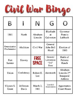 Civil War Bingo Game- Texas History Edition (6 Bingo Boards)