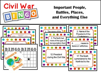Civil War Bingo  Important People, Battles, Places, and Ev