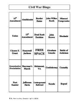 Civil War Vocabulary Bingo (30 pre-made cards!)