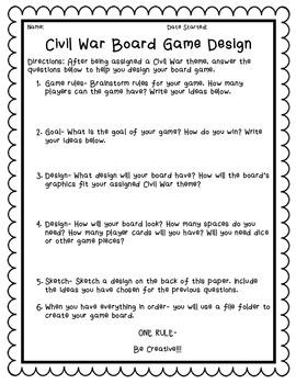 Civil War Board Game Design STEM Project