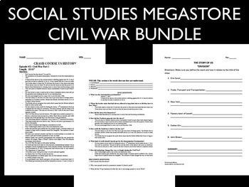 Civil War Reconstruction 12 Years a Slave Reading, Writing Activity Bundle