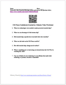 Civil War: CSS Neuse Confederate Ironclad in 4 Minutes Video Worksheet