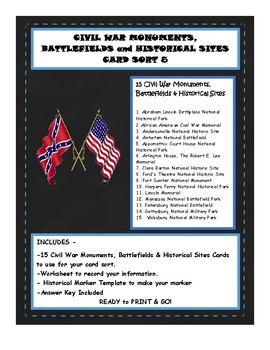 Civil War Monuments Card Sort