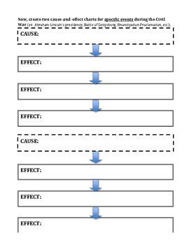 Civil War - Cause and Effect Worksheet