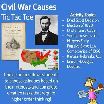 Civil War Causes Tic Tac Toe