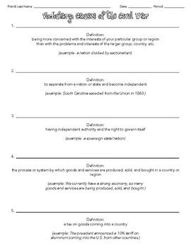 Civil War Causes: Vocabulary Pack/Analogies/Organizers/Handouts/Presentation
