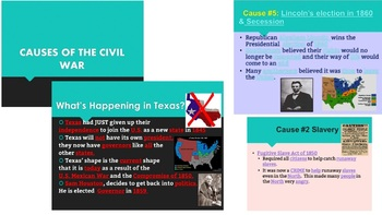 Civil War-- Causes of the Civil War Powerpoint and Cloze Notes