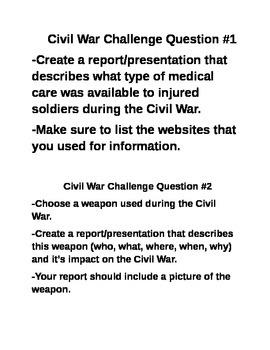 Civil War Challenge Projects