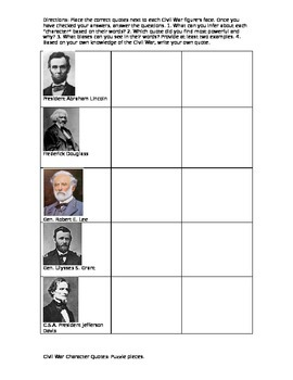 Civil War Character Quotes Puzzle