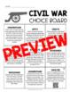 Civil War Choice Board - Editable