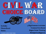 Civil War Choice Board Social Studies Activity Menu Project Rubric