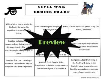 Civil War Choice Board Social Studies Activity Menu Project Rubric