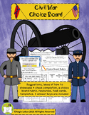 Civil War Choice Board: Suggestions, Resources & Task Cards Included