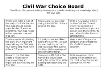Civil War Choice board