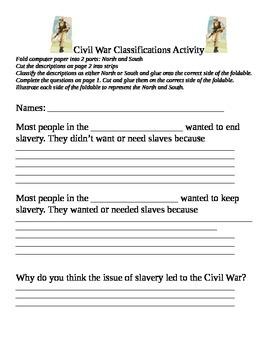 Civil War Classifications activity