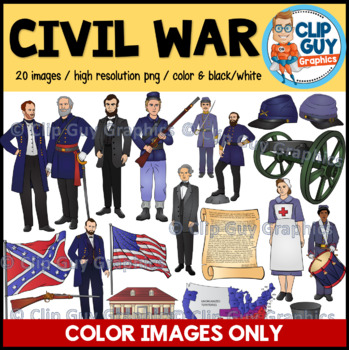 Civil War Clip Art Bundle - COLOR IMAGES ONLY {Clip Guy Graphics ClipArt}