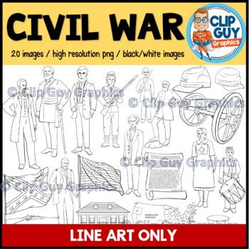 Civil War Clip Art Bundle - LINE ART IMAGES ONLY {Clip Guy Graphics ClipArt}