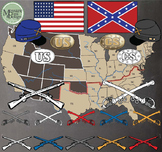 Civil War Clip Art & Map Set {Messare Clips and Design}