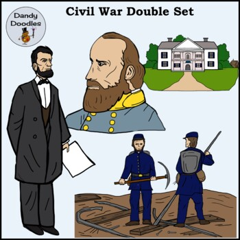 Civil War (Double Set!) Clip Art by Dandy Doodles