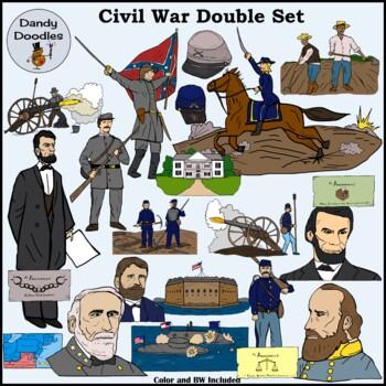 Civil War (Double Set!) Clip Art by Dandy Doodles