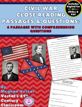 Civil War Close Reading Passages {Digital & PDF Included}