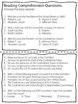 Civil War Coloring Book and Reading Comprehension Questions