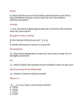 Civil War Combat - The Hornet's Nest at Shiloh Video Worksheet with Key