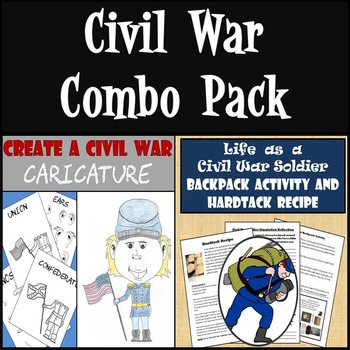Civil War Combo - Civil War Caricature & Life as a Civil War Soldier Activities