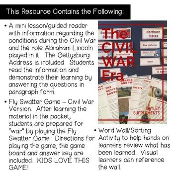 Social Studies - Civil War: Common Core Mini Lesson Grades 5-9
