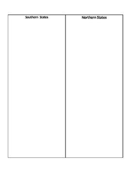 Civil War Contrast Chart Cut-Out Activity
