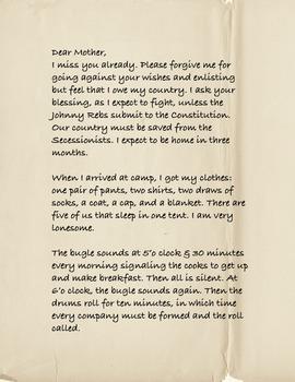 Civil War, Dear Mother: A Civil War Soldier's Letter